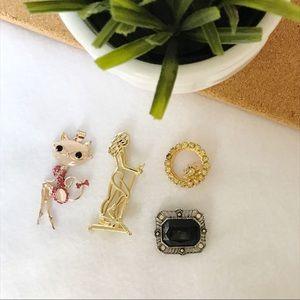 Vintage   Modern Brooches & cat pendant